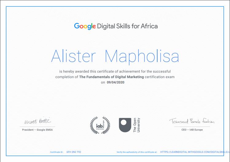 Google digital skills certificate