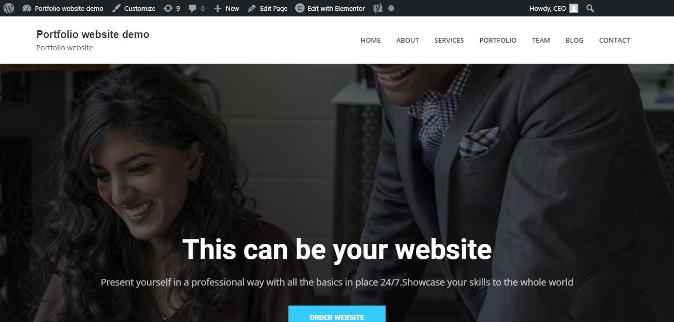 Portfolio website home
