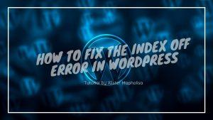 Fixing a WordPress error